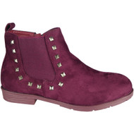 """LINLEY"" Wine Suede Cuban Heel Chelsea Ankle Boots"