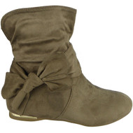"""EARTHA"" Khaki Bow Faux Suede Wedge Heel  Ankle Boots"