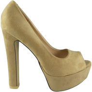 """ORLAN"" Beige Block Heel Peeptoe Court Shoes"