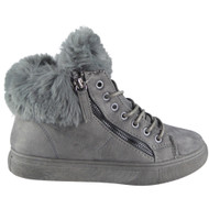"""PAMELA"" Grey Fur Lining Zip Lace Up Flat Trainers"