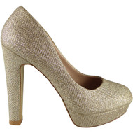 "GEORGIA"" Gold Glitter High Heel Court Shoes"