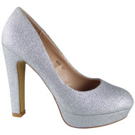 "GEORGIA"" Silver Glitter High Heel Court Shoes"