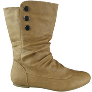 """HALI"" Camel Rouched Pixie Mid Calf Boots"