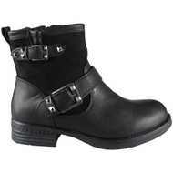 """SHANNON"" Black Cuban Heel Ankle Boots"