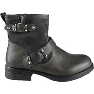 """SHANNON"" Grey Cuban Heel Ankle Boots"
