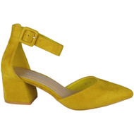 """CAROL"" Yellow Ankle Strap Faux Suede Buckle Low Heel Sandals"