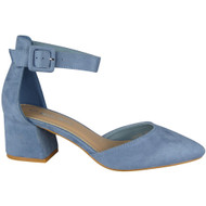 """CAROL"" Blue Ankle Strap Faux Suede Buckle Low Heel Sandals"