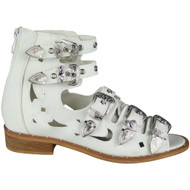 """ROSIE"" White Buckle Gladiator Strappy Cutout Studded Flat Sandals"