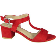 """ZULA"" Red  Mid Heel T-Bar Ankle Strap Buckle Summer Sandals"