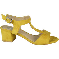 """ZULA"" Yellow  Mid Heel T-Bar Ankle Strap Buckle Summer Sandals"