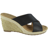 """MEAD"" Black Espadrilles Comfy High Heel Wedge Slip On Shoes"