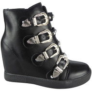"""TERRI"" Black Buckle Ankle Studded Straps Hidden Wedge Boots"