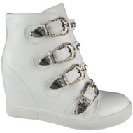 """TERRI"" White Buckle Ankle Studded Straps Hidden Wedge Boots"