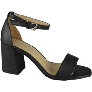 """YEATS"" Black Ankle Strap Summer Buckle Chunky Mid Heel Sandals"