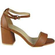 """YEATS"" Tan Ankle Strap Summer Buckle Chunky Mid Heel Sandals"