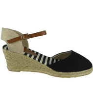"""LOREN"" Black Ankle Strap Wedges Espadrilles Comfy Mid Heel Shoes"
