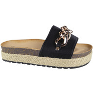 """CEIL"" Black Comfy Sliders Flats Espadrilles Chain Slippers"