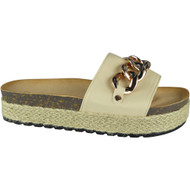 """CEIL"" Beige Comfy Sliders Flats Espadrilles Chain Slippers"