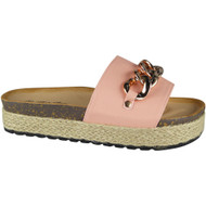 """CEIL"" Pink Comfy Sliders Flats Espadrilles Chain Slippers"