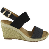 """Jill"" Black Slingback Espadrilles Comfy High Heel Buckle Shoes"