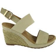 """Jill"" Gold Slingback Espadrilles Comfy High Heel Buckle Shoes"