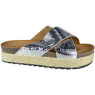 """PEG"" Silver Comfy Sliders Espadrilles Shiny  Flat Slippers"