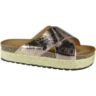 """PEG"" Champagne Comfy Sliders Espadrilles Shiny  Flat Slippers"