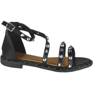 """NORMA"" Black Studded Gladiator Strappy Buckle Flat Summer Sandals"