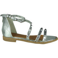 """NORMA"" Silver Studded Gladiator Strappy Buckle Flat Summer Sandals"