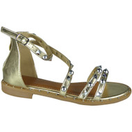 Norma Gold Gladiator Flat Sandals