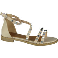 """NORMA"" Pink Studded Gladiator Strappy Buckle Flat Summer Sandals"