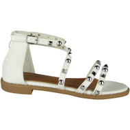 """NORMA"" White Studded Gladiator Strappy Buckle Flat Summer Sandals"