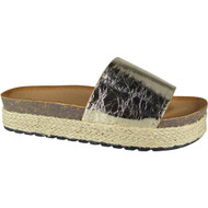 """AMELIA"" Gold Comfy Sliders Flats Espadrilles Shiny Slippers"