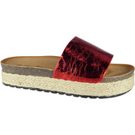 """AMELIA"" RED Comfy Sliders Flats Espadrilles Shiny Slippers"