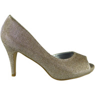 """IMOGENE"" Gold Stiletto Heel Glitter Peeptoe Shoes"