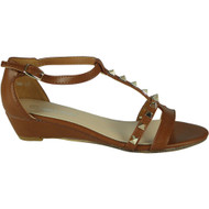 Juliet Camel T-Bar Low Heel Sandals