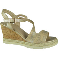 """SANDRA"" Gold Ankle Strap Espadrilles High Heel Wedges Sandals"