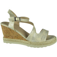 """SANDRA"" Beige Ankle Strap Espadrilles High Heel Wedges Sandals"