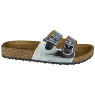 Sherlyn Silver Buckle Flat Sliders