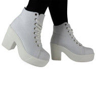 """CLAUDIA"" White Canvas Mid Heel Lace Up Ankle Shoes"