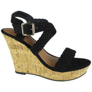 """SIRENA"" Black High Heel Wedges Buckle Sandals"