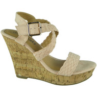 """SIRENA"" Nude High Heel Wedges Buckle Sandals"