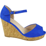 """MAUDE"" Blue Ankle Strap High Heel Buckle Party Wedges Sandals"