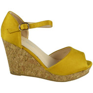 """MAUDE"" Yellow Ankle Strap High Heel Buckle Party Wedges Sandals"