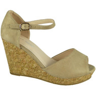 """MAUDE"" Beige Ankle Strap High Heel Buckle Party Wedges Sandals"