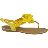 """CONRAD"" Yellow Diamante T-Bar Flat Buckle Bow Low Heel Sandal"