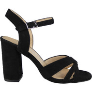 """WINSTON"" Black Buckle Ankle Strap High Heel Sandals"