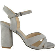 """WINSTON"" Grey Buckle Ankle Strap High Heel Sandals"