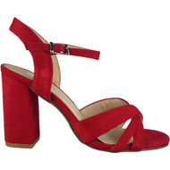 """WINSTON"" Red Buckle Ankle Strap High Heel Sandals"