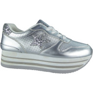 """JOCASTA"" Silver Flat Platform Wedges Sneakers Lace Up Trainers"